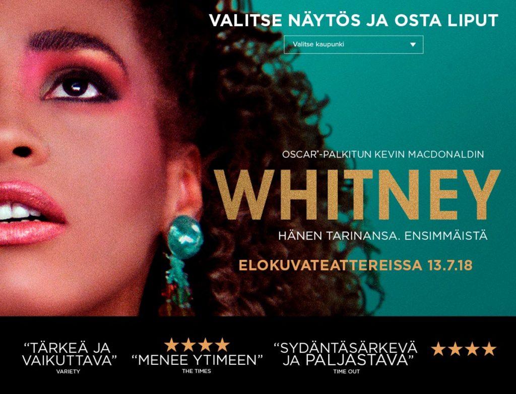 Whitney-elokuvan landing page